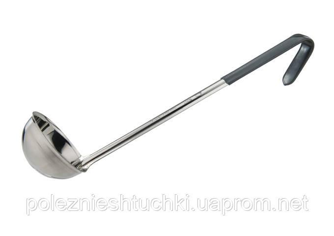 Ложка моноблок разливная 120 мл., 30 см. нержавеющая сталь с черной ручкой Prime, Winco