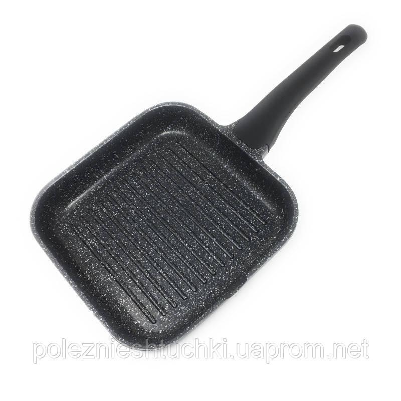 Сковорода-гриль Lacor Eco-Piedra с антипригарным покрытием 24х24 см. алюминиевая с ручкой (24125)