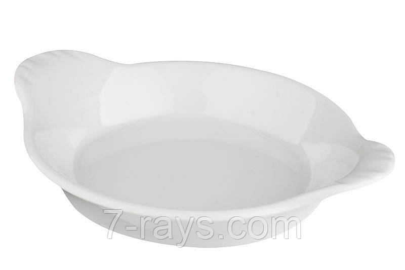 Блюдо-форма для запекания 19х15,5 см. фарфоровая, круглая Ameryka, Lubiana