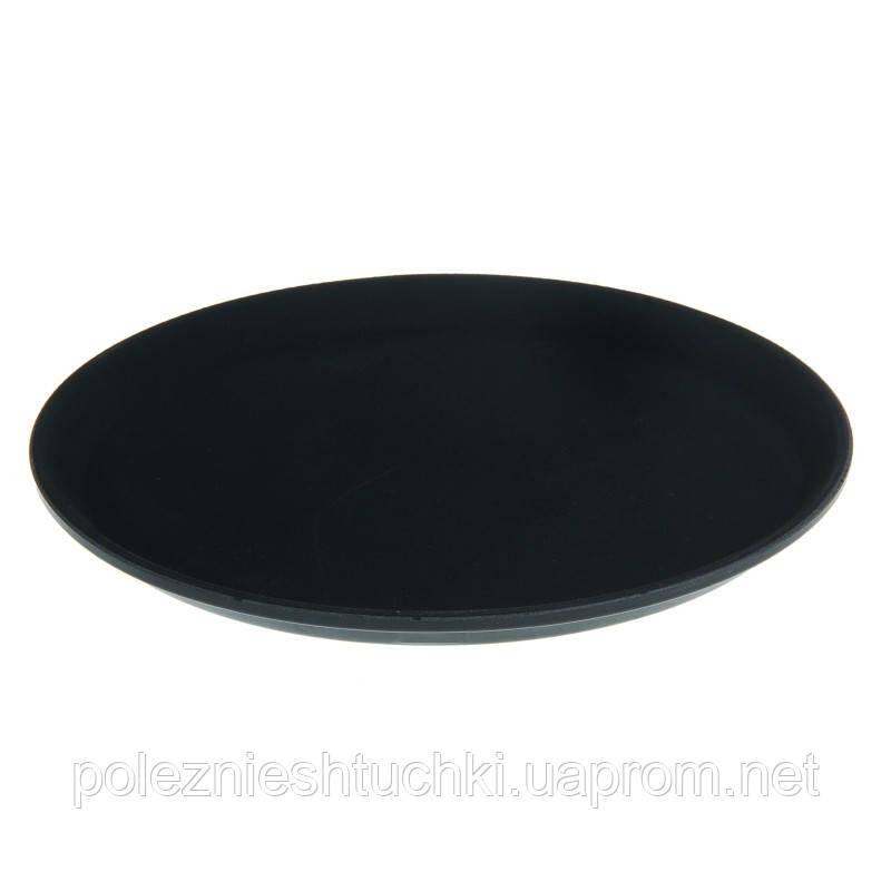 Поднос для официанта из стекловолокна нескользящий черный 36 см. круглый Winco