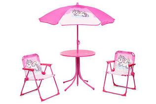 Столик с зонтиком и стульчиками 93-74 Bambi единорог, динозавр