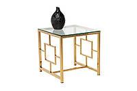 Стол кофейный CL-2 стеклянный, прозрачный металл хром, золото