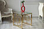 Стол кофейный CL-2 стеклянный, прозрачный металл хром, золото, фото 2