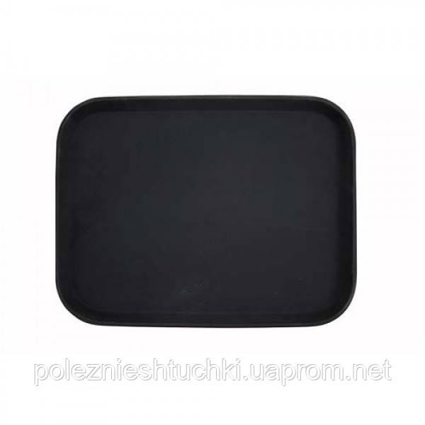 Поднос для официанта из стекловолокна нескользящий черный 45х36 см. прямоугольный Winco