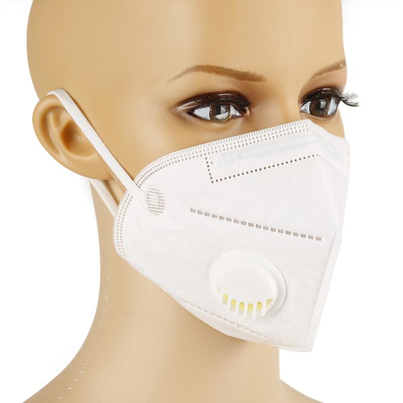 Защитная маска респиратор с угольным фильтром белая KN95 многослойная противовирусная