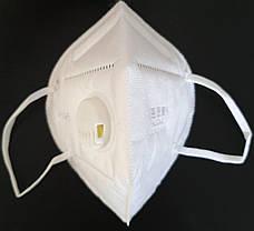 Защитная маска респиратор с угольным фильтром белая KN95 многослойная противовирусная, фото 3