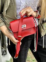Сумка женская  маленькая на длинном ремешке с цепочкой из экокожи красная
