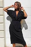 Удлиненное платье-рубашка летнее ровного кроя на пуговицах, разные цвета р.42-44,46-48 код 802L, фото 3