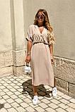 Удлиненное платье-рубашка летнее ровного кроя на пуговицах, разные цвета р.42-44,46-48 код 802L, фото 6