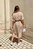 Удлиненное платье-рубашка летнее ровного кроя на пуговицах, разные цвета р.42-44,46-48 код 802L, фото 10