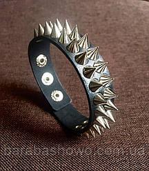 Шкіряний шипований браслет, подвійний. Якісний