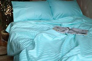 Двуспальный размер постельного белья страйп-сатин в бирюзовом цвете полоска