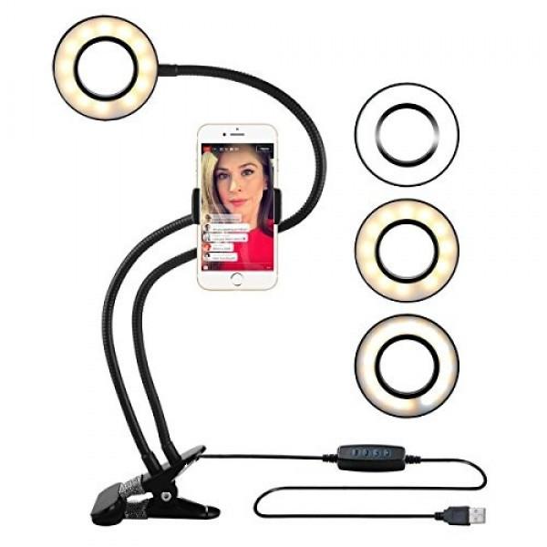 Селфи-кольцо (LED подсветка) с держателем для телефона для прямых трансляций. Лампа прищепка. Мини студия.
