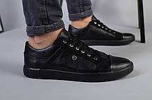 Мужские черные кожаные кеды