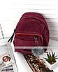 Рюкзак женский мини сумка трансформер маленький замшевый бартахный вельветовый бордовый, фото 2