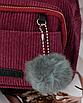 Рюкзак женский мини сумка трансформер маленький замшевый бартахный вельветовый бордовый, фото 6