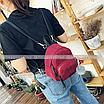 Рюкзак женский мини сумка трансформер маленький замшевый бартахный вельветовый бордовый, фото 7