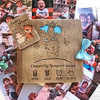 Детский фотоальбом из дерева индивидуальный дизайн