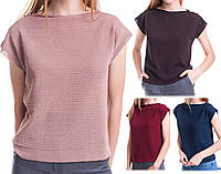 Летний топ со структурным узором. Женская вязанная футболка. Легкая вязанная футболка с рисунком.