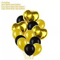 Набор Шариков (уп.13шт.) чёрные с золотом с сердечками