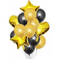 Набор шариков (уп.14шт.) золото с чёрным