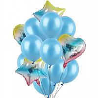 Набор шариков радужный (голубой)