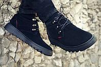Зимние ботинки мужские черные замшевые размер 40-45