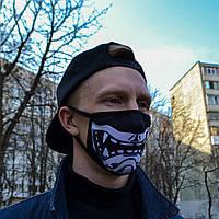 """Маска унисекс черная маска для лица многоразовая с принтом """"Самурай"""", фото 1"""