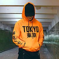 Худи оранжевое мужское Токио Размеры: XS, S, M, L, XL, фото 1