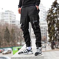 Штаны карго джоггеры мужские черные бренд ТУР модель Бейн 2.0 (Bane 2.0) Размеры XS (подроток) S M L XL XXL, фото 1