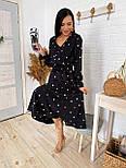 Жіноче плаття в горошок міді талія на гумці (в кольорах), фото 3