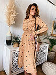 Женское платье в горошек миди талия на резинке (в расцветках), фото 7