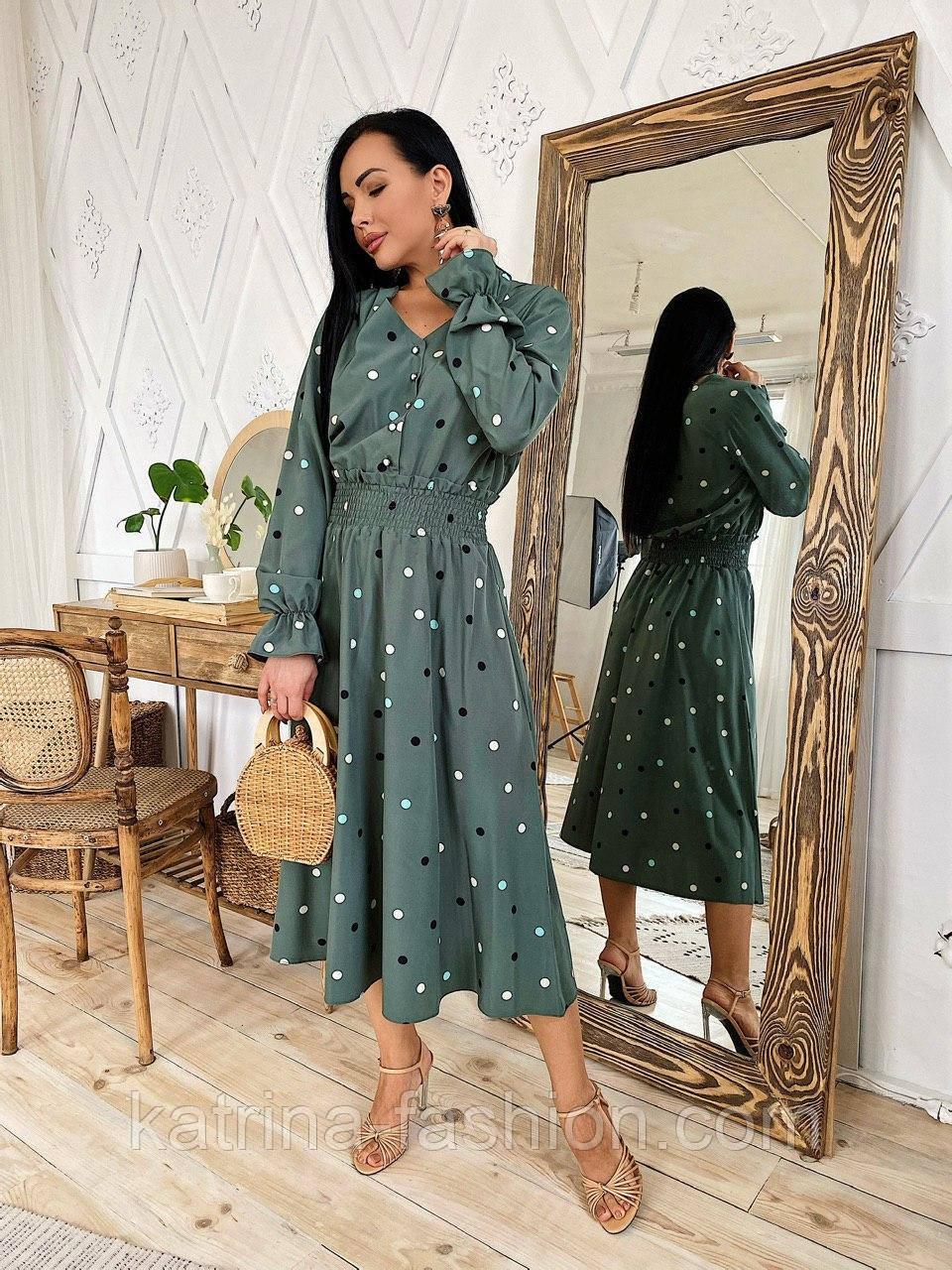 Женское платье в горошек миди талия на резинке (в расцветках)