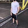 Летний комплект Адидас белая футболка мужская + чёрные шорты  S, M, L, XL
