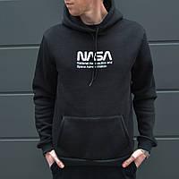 Утепленное худи мужское Наса (Nasa) черное, фото 1