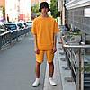Летний комплект: оранжевая футболка мужская Quil (Квил)+ оранжевые шорты мужские  Duncan (Дункан) S, M, L, XL