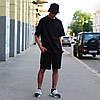 Летний комплект: чёрная футболка мужская Quil (Квил)+ чёрные шорты мужские  Duncan (Дункан) S, M, L, XL