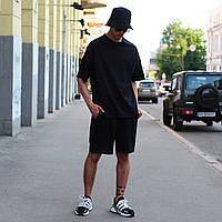 Летний комплект: чёрная футболка мужская Quil (Квил)+ чёрные шорты мужские  Duncan (Дункан) S, M, L, XL, фото 1