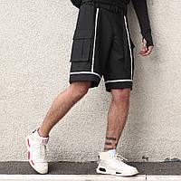 Шорты карго черные мужские с рефлективным кантом Кейбл (Cable) от бренда ТУР размер S, M, L, XL,XXL, фото 1