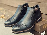 Зимние ботинки броги мужские черные кожаные размер 40-45