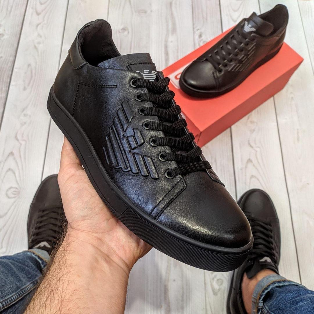 Кеды кожаные мужские черные Armani размер 40, 41, 42, 43, 44, 45