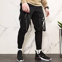 Карго штаны мужские зауженные черные с лямками (брюки с манжетом), фото 1