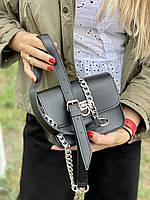 Сумка женская для телефона маленькая на длинном ремешке с цепочкой из экокожи черная, фото 1