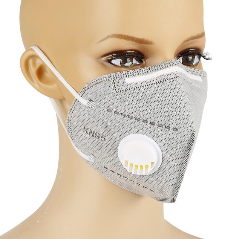 Защитная маска респиратор с угольным фильтром серая KN95 многослойная противовирусная