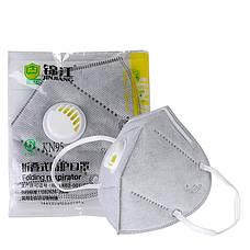 Защитная маска респиратор с угольным фильтром серая KN95 многослойная противовирусная, фото 3