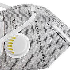 Защитная маска респиратор с угольным фильтром серая KN95 многослойная противовирусная, фото 2