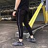 Спортивные штаны мужские черные с тонким белым лампасом от бренда ТУР модель Рейн (Rain)