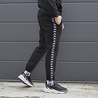 Спортивные штаны мужские чёрные с лампасом Каппа Kappa сезон весна/лето Размеры: XS S M LXL, фото 1