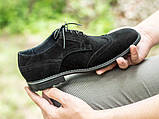 Мужские черные броги туфли из натурального замша, фото 2
