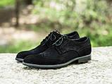 Мужские черные броги туфли из натурального замша, фото 3